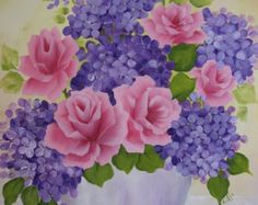 Hand Painted Canvas Pink Roses, Purple Hydrangeas Flower Pot Painting Art Wall Decor