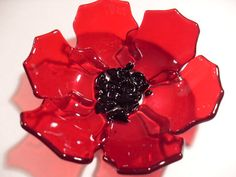 Transparent Red Fused glass Poppy Dish by sherrylee16 on Etsy, $30.00  WOW this is beautiful, what a piece.