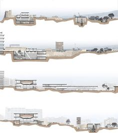 Drawing Architectural Architecture, Archaeology and Beirut: A Scenario for a Dialogue by Antoine Atallah at the American University of Beirut, 2011 on ARCHILEB - the lebanese architecture portal Architecture Sketchbook, Architecture Panel, Architecture Graphics, Architecture Visualization, Concept Architecture, Architecture Design, Sections Architecture, Architecture Diagrams, Coupes Architecture