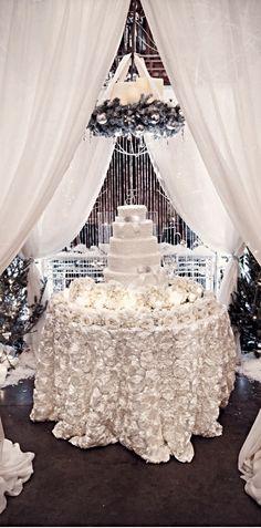 Beautiful White Wintery Rosette Satin Tablecloth