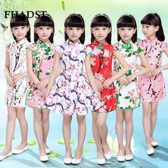 16.06$  Watch here - http://alidj3.shopchina.info/go.php?t=32682294252 - FHADST Summer New Girls Dress Silk Flowers Cheongsam Silk Dress Baby Girl Clothing Girls Clothes Good Quality Cotton Princess   #magazine