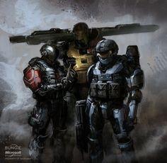 Halo: REACH spartans, Isaac Hannaford on ArtStation at https://www.artstation.com/artwork/oJ8Rm