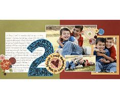 Show a Relationship  Design by Lisa McGarvey  Lisa selected three photos that showcase the playful relationship between her two sons and to complement the list of things she wants to remember.