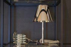 Lampade da tavolo in cristallo, plexiglass e cromatura