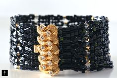 Beadwork Bracelet  with Textured Cuff Bracelet by BYTWINS on Etsy