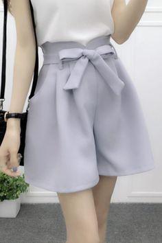 CW32033 Korean style summer high waist wide leg shorts