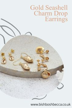 Chose from golden cowrie, conch or clam shells drop earrings. For the women who prefer dainty jewellery Clam Shells, Seashell Necklace, Summer Jewelry, Dainty Jewelry, Conch, Pearl White, Take That, Charmed, Drop Earrings