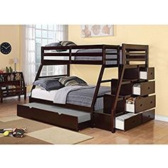 Amazon.com: Acme 37015 Jason Twin/Full Bunk Bed with Storage Ladder and Trundle, Espresso Finish: Home & Kitchen