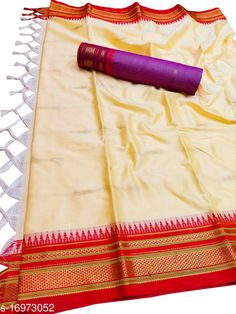 Sarees Hirkal Traditional Paithani Silk Sarees With Contrast Blouse Piece (Pearl White & Red)  Saree Fabric: Silk Blend Blouse: Separate Blouse Piece Blouse Fabric: Silk Blend Pattern: Woven Design Blouse Pattern: Woven Design Multipack: Single Sizes:  Free Size (Saree Length Size: 5.3 m, Blouse Length Size: 0.8 m)  Country of Origin: India Sizes Available: Free Size   Catalog Rating: ★4 (469)  Catalog Name: Aakarsha Fashionable Sarees CatalogID_2303917 C74-SC1004 Code: 146-16973052-7761