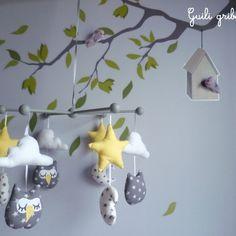 mobile BIRDS hiboux gris/jaune