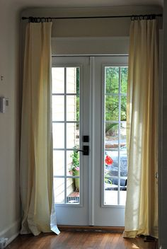 French Door Curtains Made From A Target Shower Curtain That We Cut In Half Home