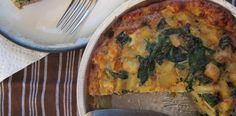 MEAT CRUST QUICHE:  1 lb. breakfast pork sausage (or italian), 1 sweet potato diced, 1/2 yellow onion diced, 2C fresh spinach, 4 eggs whisked, 1 clove garlic minced, 1t garlic powder, 1/8t ground paprika, 2T coconut oil, S/P.