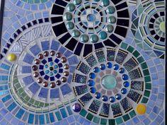 Pinwheels in Blue Mosaic Art Wall Hanging by memoriesinmosaics