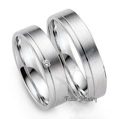 His and Hers Wedding Bands Set,10K White Gold Diamond Wedding Rings,Mens Wedding Rings,Womens Wedding Bands,Matching Wedding Bands by TallieJewelry on Etsy