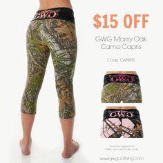 You can get GWG Mossy Oak Camo Yoga Capris for $15 OFF when you use code CAPRI15. www.gwgclothing.com