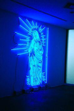 Neon Mary. Religious kitsch.