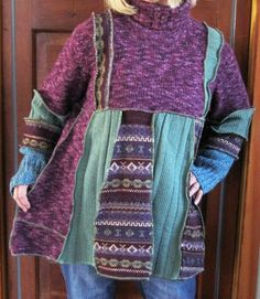 Plus Size Sweater Tunic Purples Green by maisestudio on Etsy, $92.00