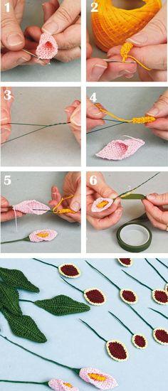 Luty Artes Crochet: Flores e folhas de crochê