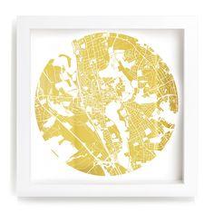 EWAN DAVID EASON, Mappa Mundi Oxford, 2014 UV treated ink on Mirrored Gold dibond Framed: 31 x 31 cm / 12 x 12 in
