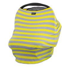 Multi Use Baby Car Seat Canopy and Nursing Cover (Yellow/Gray Stripe)