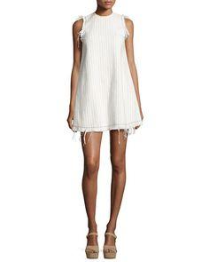 Sleeveless Cotton Burlap Mini Dress