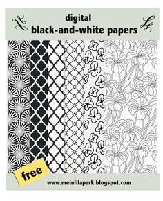 free digital black-and-white scrapbooking and fun wrapping papers – ausdruckbare Geschenkpapiere– freebie | MeinLilaPark – digital freebies