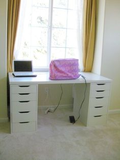 sewing table from ikea parts - Vika Amon for the top and Vika Alex for the drawers from Sue Loves Sew