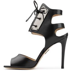 Paul Andrew Leather Stiletto Pumps ($835) ❤ liked on Polyvore featuring shoes, pumps, lace up stilettos, high heels stilettos, stilettos shoes, black leather shoes and black leather pumps