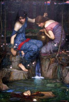John William Waterhouse :: Nymphs finding the head of Orpheus c. 1900