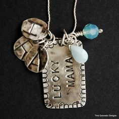 Lucky Mama dog tag style Sterling Silver Stones and by blestnest, $80.00