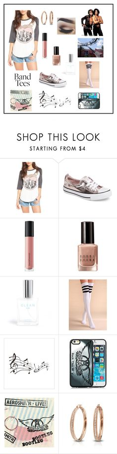 """""""Band Tee"""" by marnie1979 ❤ liked on Polyvore featuring Junk Food Clothing, Converse, Bare Escentuals, Bobbi Brown Cosmetics, CLEAN, Disney, Bling Jewelry and bandtees"""