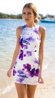 Purple Floral Print Cutout Side Bodycon Dress #ustrendy www.ustrendy.com