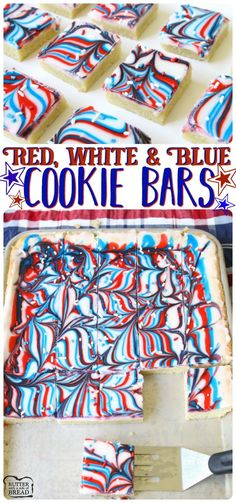 EASY & Fun Patriotic Cookie Bars recipe made with swirled red, white & blue icing making them perfectly festive! Easy sugar cookie bar recipe for 4th of July & Memorial Day from Butter With A Side of Bread. via @ButterGirls