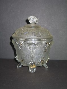 Vintage Covered Candy Dish with Raised Grapes & Ivy Pattern Footed . Starting at $3
