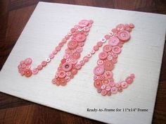 Baby Monogram Button Letter Art on Ivory Silk -- Ready-to-Frame -- You Choose Button Color and Custom Design Your Own