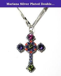 """Mariana Silver Plated Double Chain """"Twist and Shout"""" Swarovski Crystal Cross Pendant Necklace. About Mariana: The artist and jewelery designer, Mariana has been creating unique and original exotic pieces of fashion jewellery since 1997. Marianas jewelery is internationally recognized in major fashion centers around the world. The quality and ever changing designs have enabled the Mariana brand to achieve substantial growth all over the world. Marianas designs appeal to women of all ages…"""