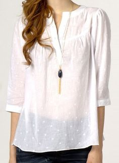 Basic White Embroidery Blouse -I like this. It's my style, cool, clean and versatile, but with a little something extra. Hijab Style, White Embroidery, White Shirts, White Tops, Shirt Blouses, Blouse Designs, Style Me, Cute Outfits, Tunic Tops
