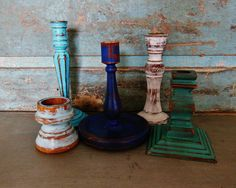 Wooden Candlestick Candle Holder Painted by turquoiserollerset, $39.00