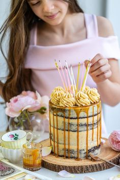 Outrageously delicious Salted Caramel Cake – four layers of rich chocolate cake filled with easy Swiss caramel buttercream. A must for caramel lovers! Salted Caramel Cake, Homemade Caramel Sauce, Caramel Buttercream, Breakfast Cake, Eat Cake, Chocolate Cake, Baking Recipes, 65th Birthday, Retirement