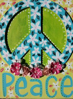 Painted peace sign!!!! Isn't it lovely??! Etsy listing at https://www.etsy.com/listing/182651490/9x12-flower-peace-sign
