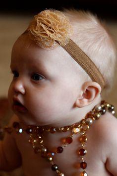 Gold/cream/brown poly mesh puff baby headband
