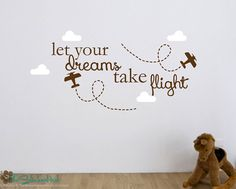 Airplane Wall Decal Initial And Name Custom Vinyl By Fivestarsigns - Custom vinyl wall decals word art ideas