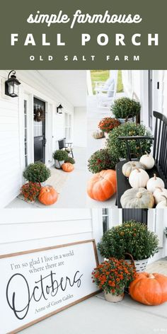 Mums, pumpkins, blue ticking, and crisp white rockers...easy fall porch decor for the whole fall season! #fallporch #fallporchdecor #farmhousefall