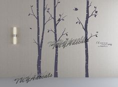 wall decal Vinyl Wall Decal Nature Design Tree Wall Decals chrildrens wall decals Wallstickers Tree with birds wall decal :together with me