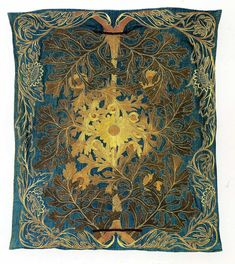 Embroidered Bedcover textile produced by Morris & Co in 1876