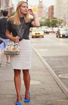 Street Style - band tee, pencil skirt, blue flats