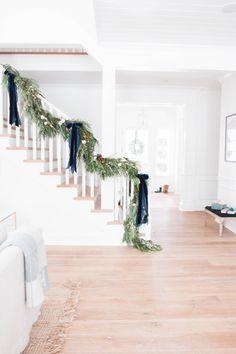 Christmas Stairs, Blue Christmas Decor, Indoor Christmas Decorations, Natural Christmas, Merry Little Christmas, Simple Christmas, Beautiful Christmas, Winter Christmas, Holiday Decor