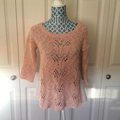Anthropologie Knitted Knotted Pink Bloomlace Sweater Size XS | eBay