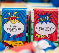 Don't forget the #Superpower Pills for all party guests! What little superboy or supergirl wouldn't want some 'X-Ray Vision Vitamins' or 'Super Strength Pills'?! Featuring SIMONEmadeit Party Printables http://www.simonemadeit.com/superhero-birthday-party/