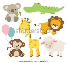 Vector illustration of cute animal set including koala, crocodile, giraffe, monkey, lion, and sheep. by JungleOutThere, via Shutterstock